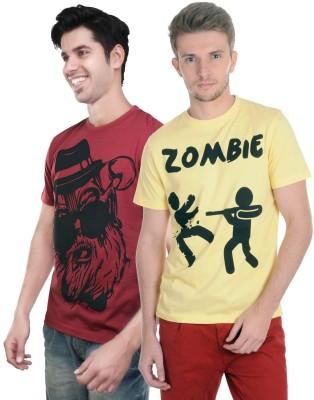 Algotton Graphic Print Men,s Round Neck Maroon, Yellow T-Shirt
