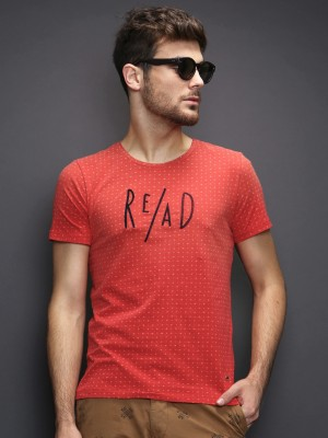 Wrogn Printed Men's Round Neck Red T-Shirt