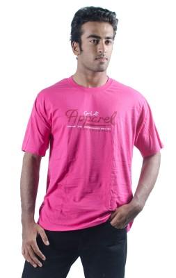 0-Degree Solid Men's Round Neck Pink T-Shirt