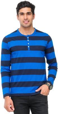 TSX Striped Men's Henley Blue T-Shirt