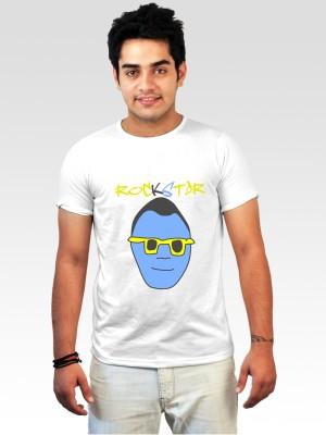 Incynk Printed Men's Round Neck White T-Shirt