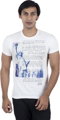 Stop To Start by Shoppers Stop Printed Men,s Round Neck White T-Shirt