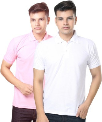 eSOUL Solid Men's Polo Neck Pink, White T-Shirt