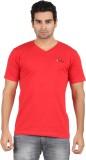 U Lead Printed Men's V-neck Red T-Shirt
