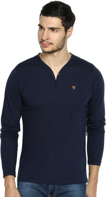 The Indian Garage Co. Solid Men's Henley Dark Blue T-Shirt
