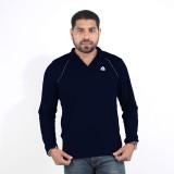 DS WORLD Solid Men's Polo Neck Dark Blue...