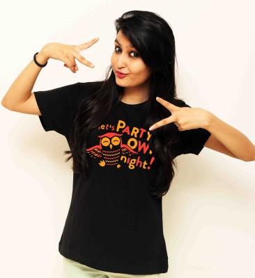 Sukhiaatma Printed Women's Round Neck Black T-Shirt