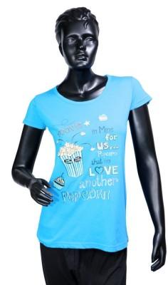 Starsy Printed Women's Round Neck Light Blue T-Shirt