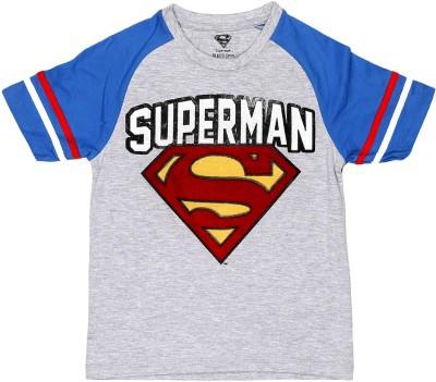 Superman Printed Boy's Round Neck Grey T-Shirt