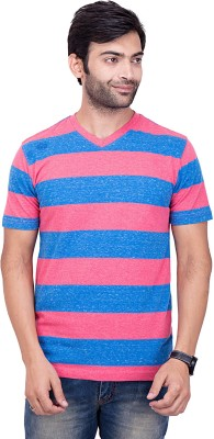 YOUTH & STYLE Striped Men's Fashion Neck Pink T-Shirt