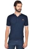 Klub Fox Solid Men's V-neck Blue T-Shirt