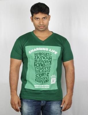 Mr Sha Printed Men's Round Neck Green T-Shirt