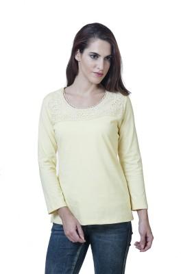 Rute Embellished Women's Round Neck Yellow T-Shirt