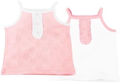 Babyoye Premium Solid Baby Girl's Square Neck Pink T-Shirt