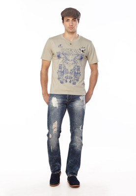 Do U Speak Green Printed Men's Henley T-Shirt