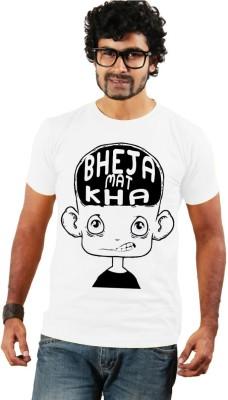 Shopping Monster Printed Men's Round Neck White T-Shirt