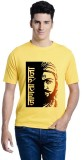 Lime Printed Men's Round Neck Yellow T-S...