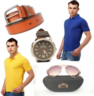 Tele Queen Solid Men's Polo Neck Purple, Yellow T-Shirt