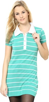 Species Striped Women's Polo Light Green, White T-Shirt