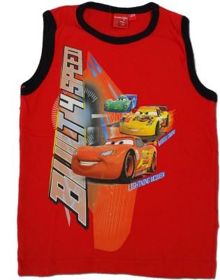 Kuddle Kid Printed Boy's Round Neck Red T-Shirt