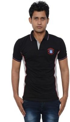 Lampara Solid Men's Polo Neck Black T-Shirt