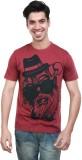Algotton Printed Men's Round Neck Maroon...