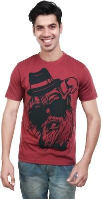 Algotton Printed Men,s Round Neck Maroon T-Shirt