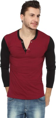 Pepperclub Solid Men's Henley Black, Maroon T-Shirt