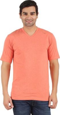Lavos Solid Men's V-neck Orange T-Shirt