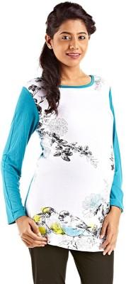 Kriti Western Maternity Printed Women's Round Neck Blue T-Shirt