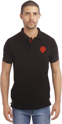 Leo Solid Men's Polo Neck Black T-Shirt