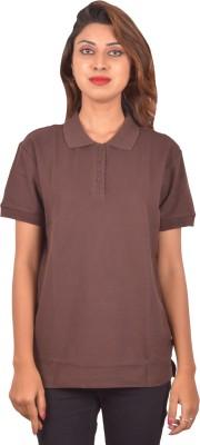 Blueash Self Design Women's Polo Neck Brown T-Shirt