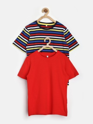 Marks & Spencer Striped, Solid Boy's Round Neck T-Shirt