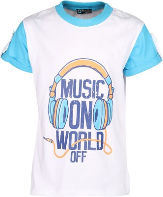 Cool Quotient Printed Boy's Round Neck White T-Shirt