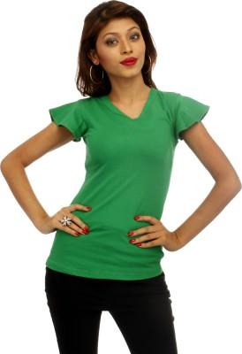 A N, E Solid Women's V-neck Green T-Shirt