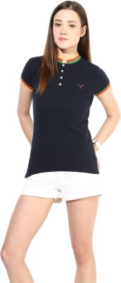 Calgari Solid Women's Polo Neck Dark Blue T-Shirt