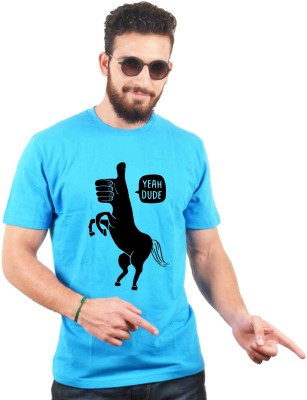 Sukhiaatma Printed Men's Round Neck Light Blue T-Shirt