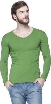 Tinted Solid Men's V-neck Green T-Shirt