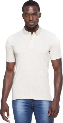 OCTAVE Solid Men's Polo Neck Yellow T-Shirt