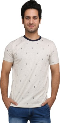 Rags Style Printed Men's Round Neck White T-Shirt