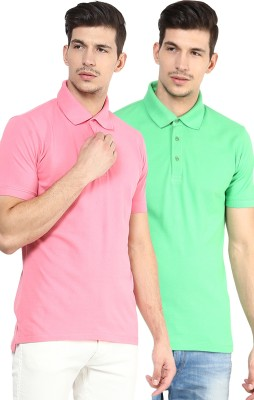 Yellow Submarine Solid Men,s Polo Neck Green, Pink T-Shirt