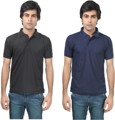 Stylish Trotters Solid Men's Polo Black, Dark Blue T-Shirt