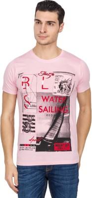 IQ Printed Men,s Round Neck Pink T-Shirt