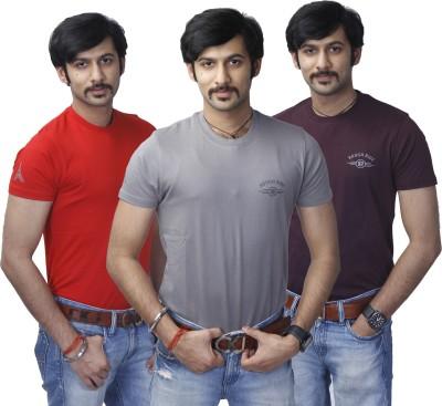 Rough Ride Solid Men's Round Neck Red, Grey, Purple T-Shirt