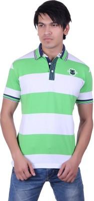 JAYIS Striped Men's Polo Neck Light Green T-Shirt