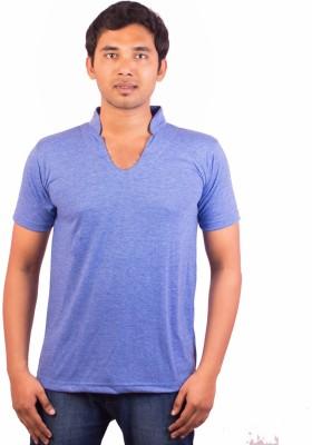 Indrow Self Design, Solid Men's V-neck Blue T-Shirt