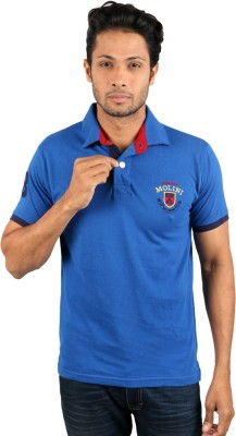 Molini Solid Men's Polo Neck Blue T-Shirt