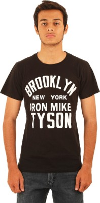 Line Printed Men,s Round Neck Black T-Shirt