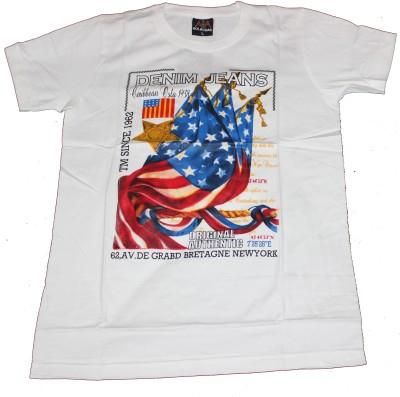 CLICKPURCH Printed Men's Round Neck White T-Shirt