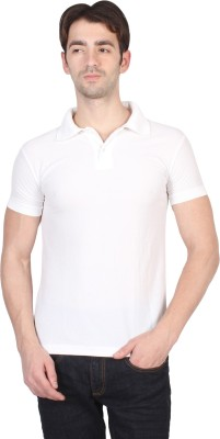 Randier Solid Men's Polo Neck White T-Shirt